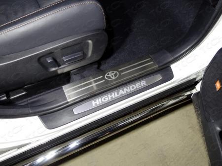 Toyota Highlander 2017-Накладки на пластиковые пороги (лист шлифованный логотип Toyota) 2шт